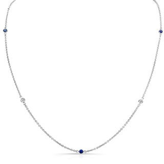 Sterling Silver 1/4ct TDW Diamond and Blue Sapphire Necklace (H-I, I1-I2)