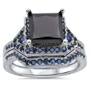 Noori 14k White Gold 2ct TDW Black Certified Diamond and Blue Sapphire Bridal Ring Set