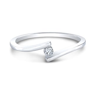 Sterling Silver Round Diamond Accent Bypass Promise Ring
