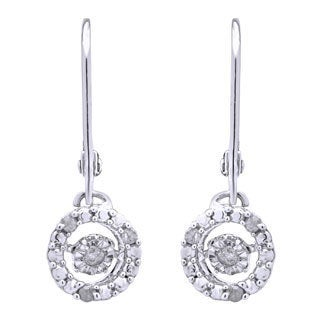 Sterling Silver 1/6ct TDW Circle of Love Dancing Diamond Dangling Earrings (H-I, I2-I3)