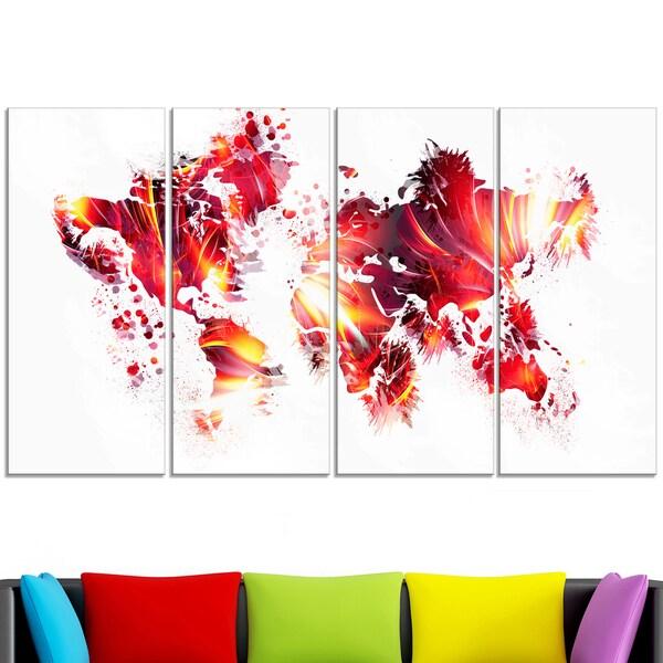 Design Art 'Firey Red' Map Canvas Art Print