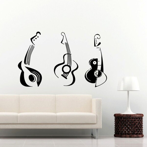 Guitars Musical Instrument Music Inspirational Sticker Vinyl Wall Art