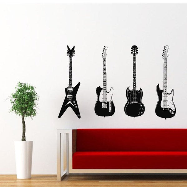 Four Guitars Musical Instrument Music Inspirational Sticker Vinyl Wall Art