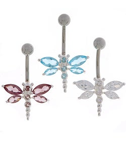 CGC 14g Surgical Steel Crystal Dragonfly Curved Barbell