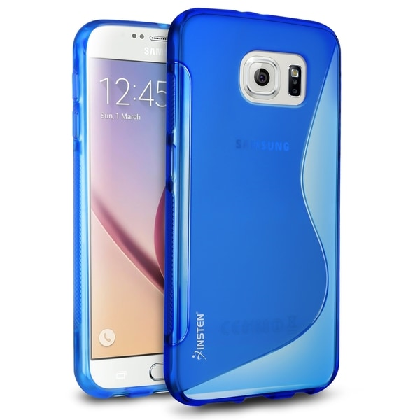 Insten Blue/Clear S Shape Ultra Slim TPU Rubber Candy Skin Phone Case Cover For Samsung Galaxy S6