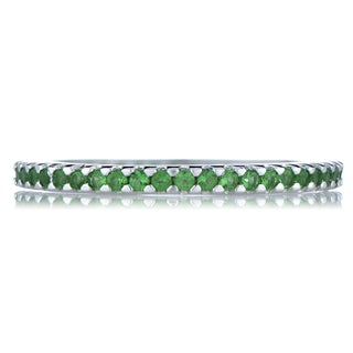 Sterling Silver Green Cubic Zirconia Eternity Ring