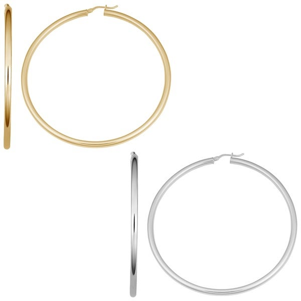 Fremada Yellow or Sterling Silver 3 x 60mm Large Round Hoop Earrings
