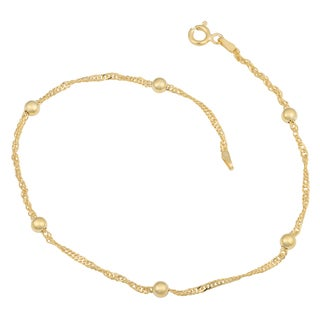 Fremada 14k Yellow Gold Over Sterling Silver Singapore Bead Station Anklet (10 inches)