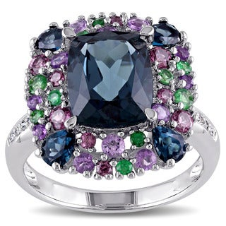 Miadora Sterling Silver Blue Topaz, Rhodolite, Amethyst, Tsavorite and Diamond Accent Cocktail Ring