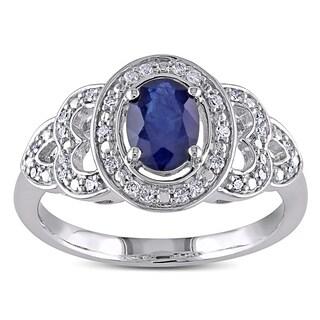 Miadora 10k White Gold Sapphire 1/6ct TDW Diamond Ring (G-H, I1-I2)