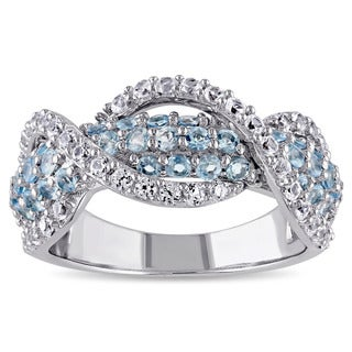 Miadora Sterling Silver Created White Sapphire and Blue Topaz Infinity Ring