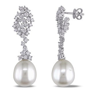 Miadora 14k White Gold South Sea Pearl and 2ct TDW Diamond Earrings (G-H, SI1-SI2) (11.5-12 mm)