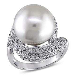 Miadora Signature Collection 14k White Gold South Sea Pearl and 1 1/3ct TDW Diamond Ring (G-H, SI1-SI2) (13.5-14 mm)