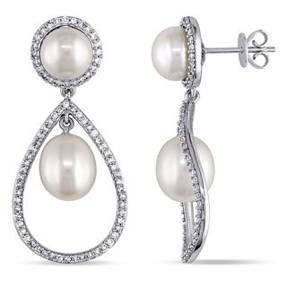 Miadora 14k White Gold Cultured Freshwater White Pearl and 3/4ct TDW Diamond Earrings (G-H, SI1-SI2) (7.5-9 mm)