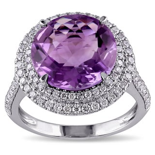 Miadora 14k White Gold Amethyst and 3/4ct TDW Diamond Ring (G-H, SI1-SI2)