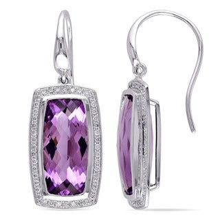 Miadora 14k White Gold Amethyst and 2/5ct TDW Diamond Earrings (G-H, SI1-SI2)