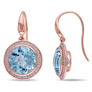 Miadora 14k Rose Gold Sky Blue Topaz and 3/8ct TDW Diamond Earrings (G-H, SI1-SI2)