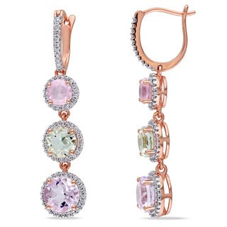 Miadora 14k Rose Gold Green Amethyst, Rose de France, Rose Quartz and 1/2ct TDW Diamond Earrings (G-H, SI1-SI2)