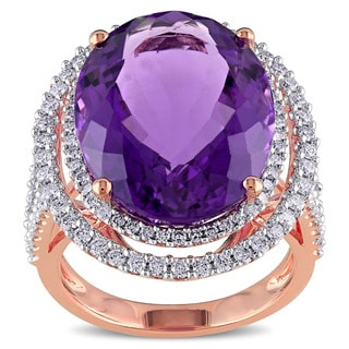 Miadora 14k Rose Gold Amethyst and 7/8ct TDW Diamond Ring (G-H, SI1-SI2)