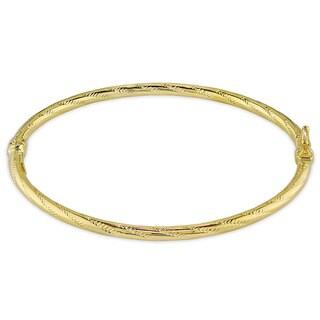 Miadora 14k Yellow Gold Engraved Bangle Bracelet