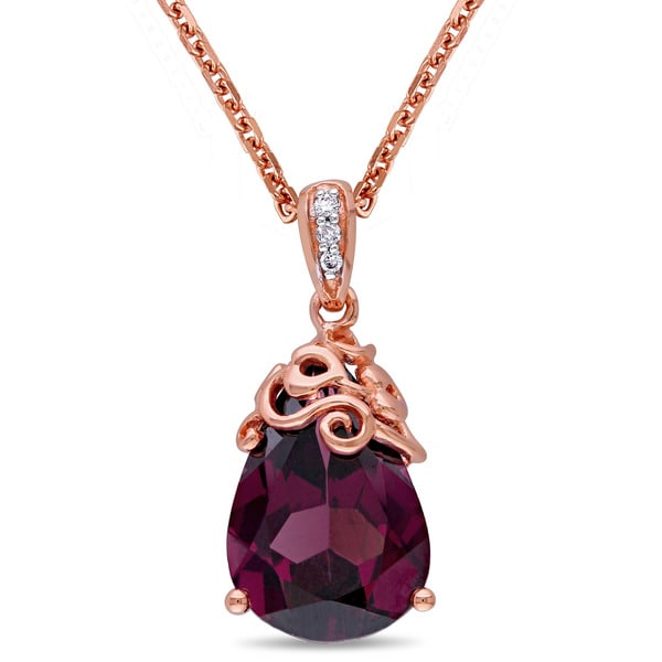 Miadora 14k Rose Gold Rhodolite and Diamond Accent Drop Necklace