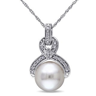 Miadora 10k White Gold Cultured Freshwater Pearl and 1/10ct TDW Diamond Drop Necklace (G-H, I2-I3) (9-9.5 mm)