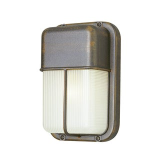 Cambridge 1-Light Rust 6.5 in. Outdoor Flush Mount with Clear Polycarbonate