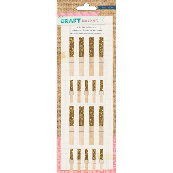 Craft Market Glittered Clothespins 18/Pkg-Gold