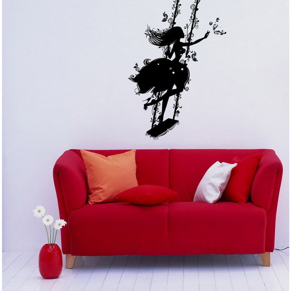 Girl on a Swing Floral Patterns Stylish Sticker Vinyl Wall Art