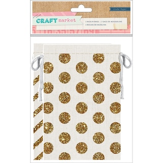"Craft Market Muslin Bags 3.75""X6"" 2/Pkg-Gold Glitter Dots & Stripes"