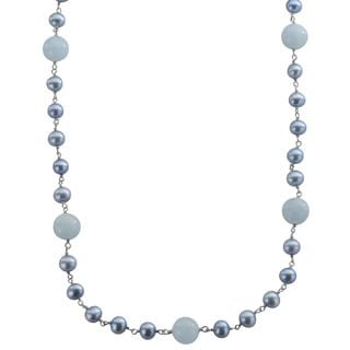 Pearls For You Sterling Freshwater Pearl and Aquamarine Necklace (6-7 mm)