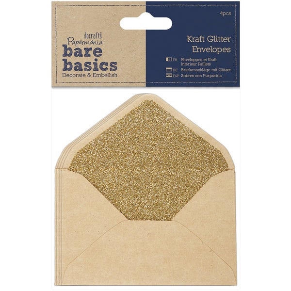Papermania Bare Basics Glitter Envelopes 14cm X 10cm 4/Pkg-Kraft