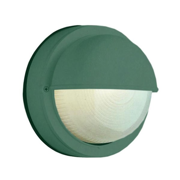Cambridge 1-Light Verde Green 8 in. Outdoor Flush Mount with Clear Ribbed Polycarbonate