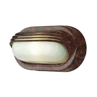 Cambridge 1-Light Rust 4.5 in. Outdoor Flush Mount with Clear Ribbed Polycarbonate