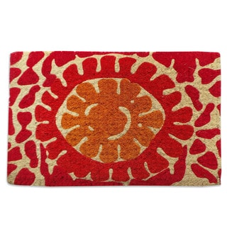 Handwoven Red Flower Extra Thick Coir Decorative Doormat (18x30_