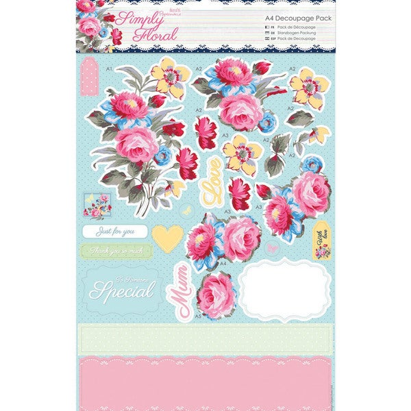 Papermania Simply Floral A4 Decoupage Pack-Pastel Blooms