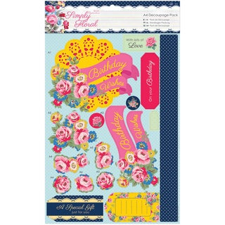 Papermania Simply Floral A4 Decoupage Pack-Bright Blooms
