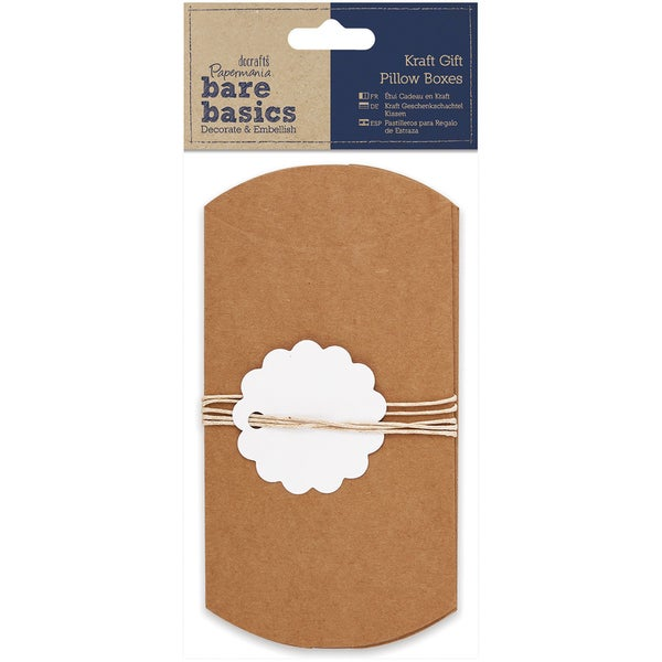 Papermania Bare Basics Gift Pillow Boxes-Kraft