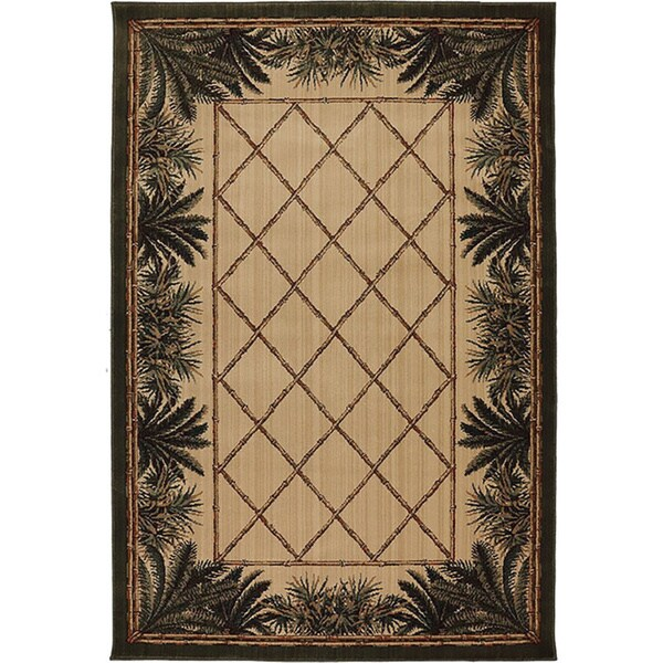 Machine Woven Tropical Bahama Breeze Green Polypropylene Rug (8'x10')