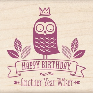 "Inkadinkado Mounted Rubber Stamp 2.25""X2.25""-Another Year Wiser"