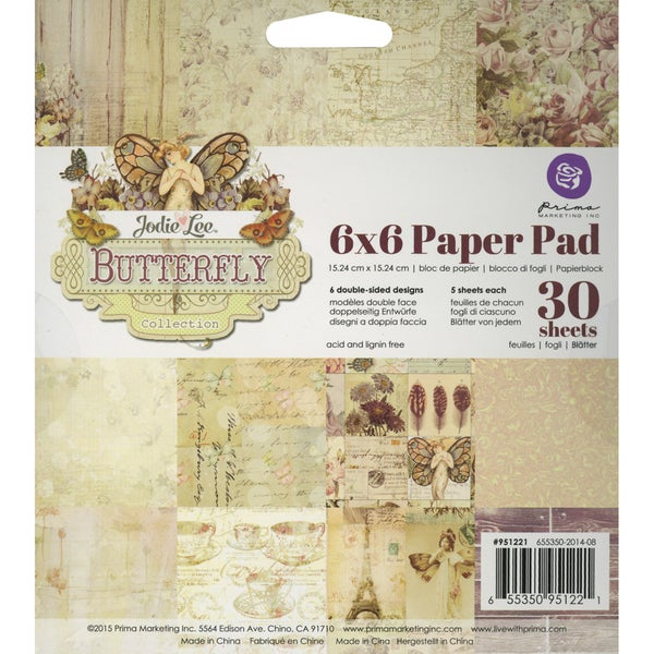 "Prima Marketing Paper Pad 6""X6""-Butterfly"