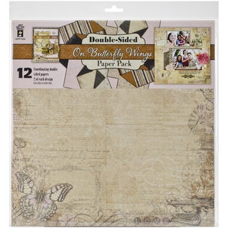 """Hot Off The Press Paper Pack 12""""X12"""" 12/Pkg-On Butterfly Wings"""