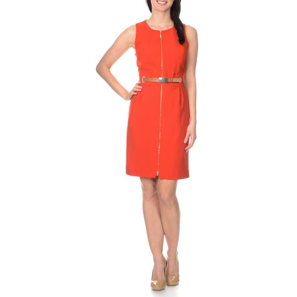 Sharagano Women's Zip Front Belted Dress