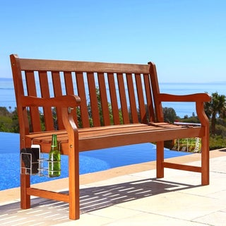 4-foot Malibu Wood Garden Bench with Speaker, Bottle Opener, Bottle Holders and Magazine Rack