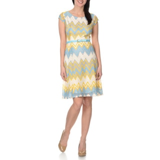 Sharagano Women's Multi-colored Chevron Lace Dress