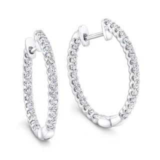 Platinum over Silver 1/2ct TDW Diamond Hoop Earrings (H-I, I1-I2)