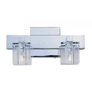 Cambridge 2-Light Polished Chrome 11 in. Bath Vanity with Frosted Glass