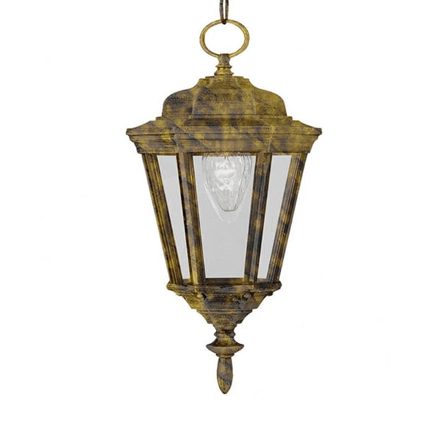 Cambridge 1-Light Black Gold 17.25 in. Outdoor Hanging Lantern with Clear Glass