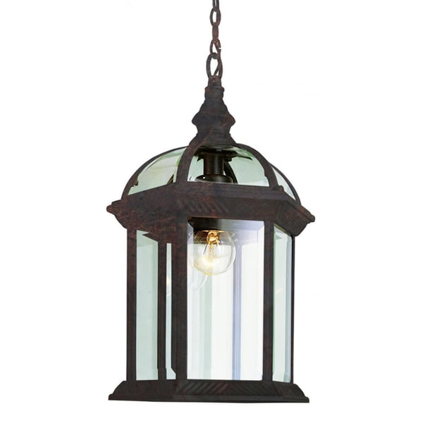 Cambridge 1-Light Black Copper 17.5 in. Outdoor Hanging Lantern with Beveled Glass