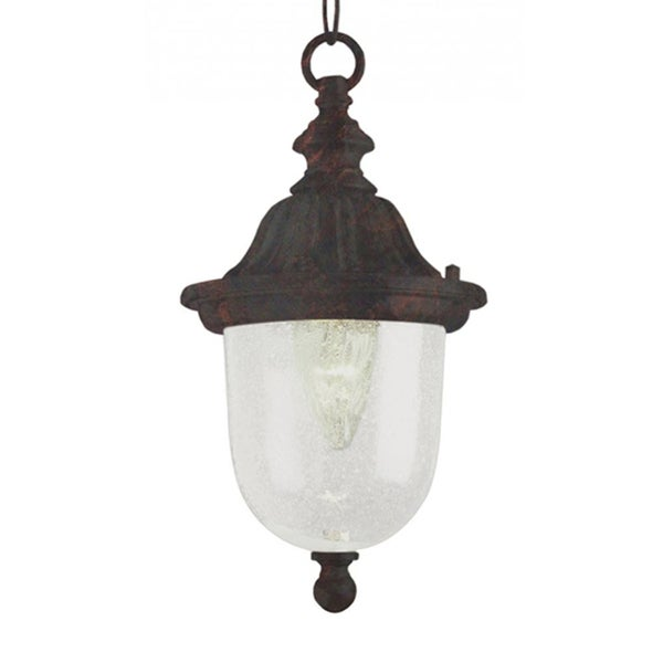 Cambridge 1-Light Black Copper 18.5 in. Outdoor Hanging Lantern with Seeded Glass